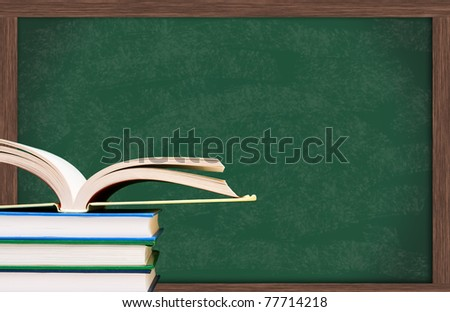 Stack of  books one open in front of the chalkboard, School Days