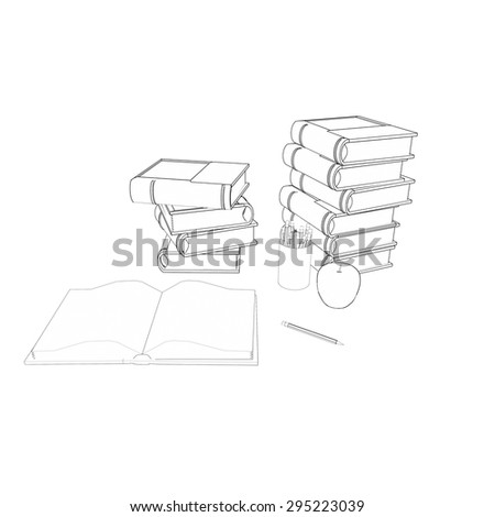 stack of books, open book, apple and pencils