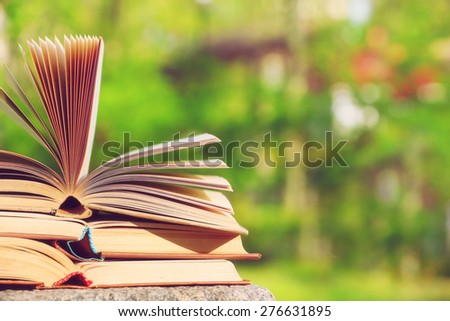 Stack of books outdoors, on blurred background - stock photo