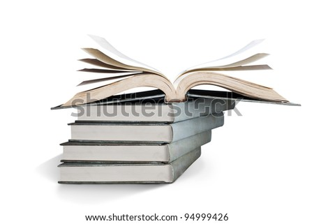 Stack of books over white - stock photo