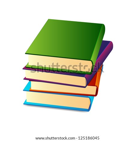 Stack of books. Raster version of the loaded vector - stock photo