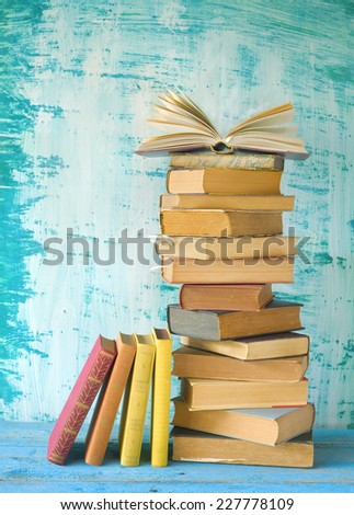 stack of books, row of books, open book, free copy space - stock photo