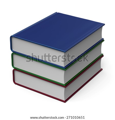 Stack of books three 3 colorful blank cover. School learning information content icon concept. 3d render isolated on white background - stock photo
