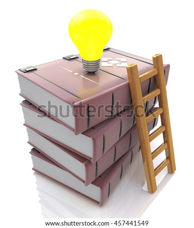Stack of books with light bulb and ladder in the design of information related to knowledge and education. 3d illustration - stock photo