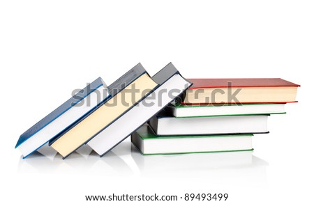 stack of books with reflection isolated on white - stock photo