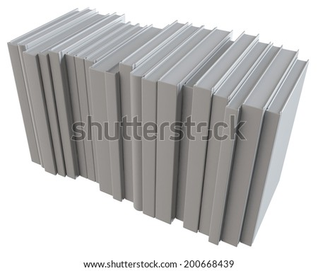 Stack of books with white hardcovers on white background - stock photo