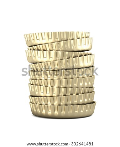 stack of bottle caps on white background , 3d render - stock photo
