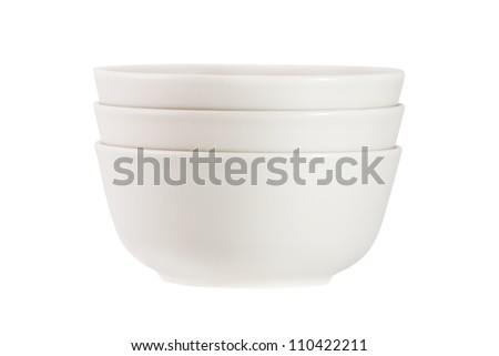 Stack of  bowls isolated on white background