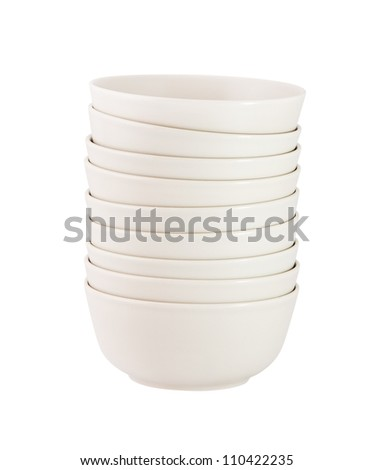 Stack of  bowls isolated on white background - stock photo