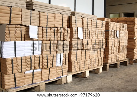 stack of box, waiting for delivery in a warehouse - stock photo