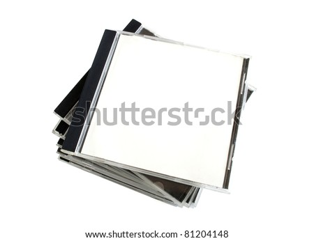 Stack of boxes from disks isolated on white background - stock photo