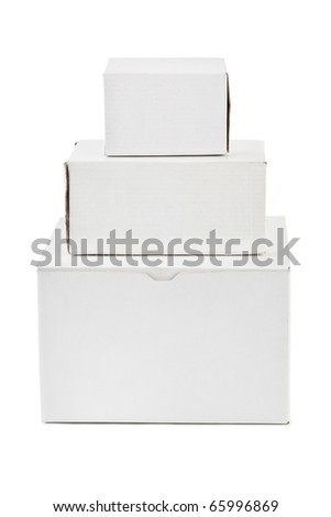 Stack of boxes isolated on white background - stock photo