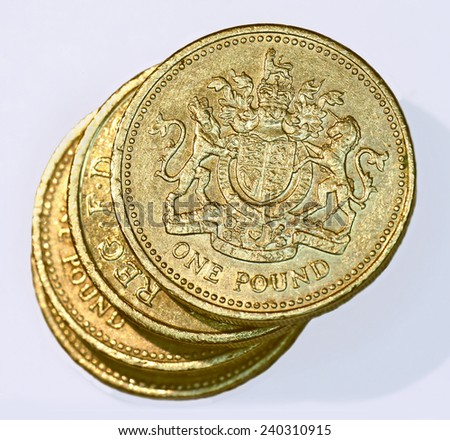 stack of British one pound coins - stock photo