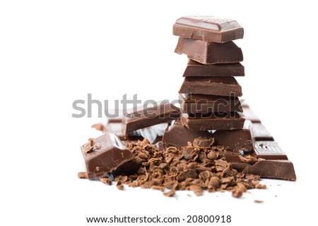 stack of broken chocolate isolated