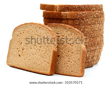 stack of brown bread slice on white background