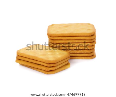 stack of butter biscuits on white background