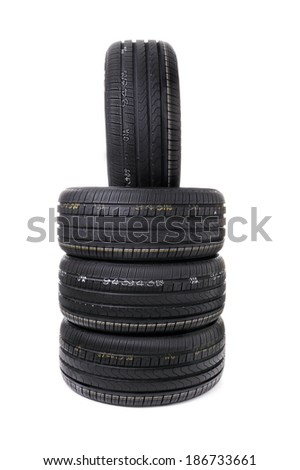 Stack Of Car Tires - stock photo
