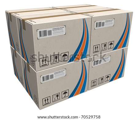 Stack of cardboard boxes - stock photo
