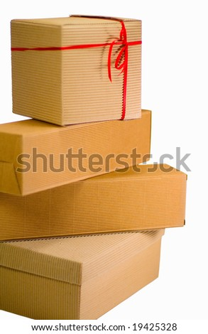 stack of cardboard boxes close up on white background - stock photo