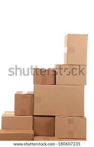 Stack of cardboard boxes. Isolated on a white background.