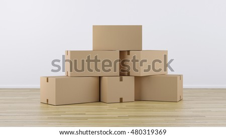 Stack of Cardboard boxes on a wooden floor 3d Render