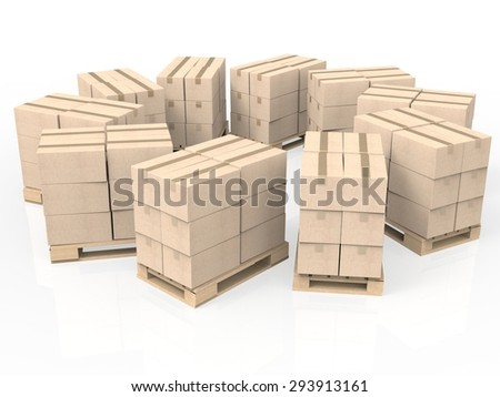 stack of cardboard boxes on wooden pallet - stock photo