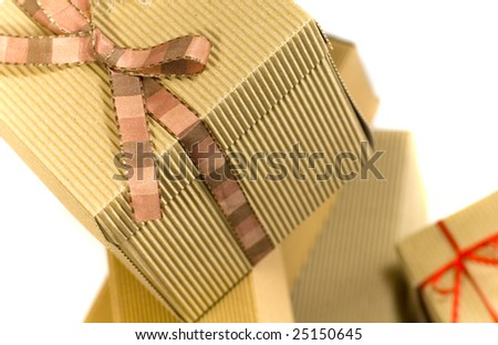 stack of cardboard gift boxes closeup - stock photo