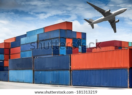 Stack of Cargo Containers at the docks - stock photo