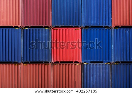 Stack of cargo shipping containers in shipping yard for import,export industrial - stock photo