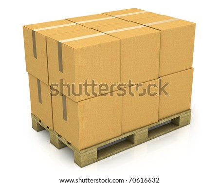 Stack of carton boxes on a pallet isolated on white background - stock photo