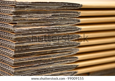 Stack of carton boxes package before assembly the box - stock photo