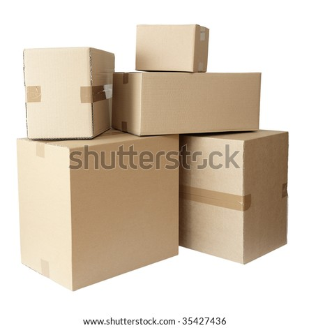 stack of carton boxes post package on white background with clipping path - stock photo