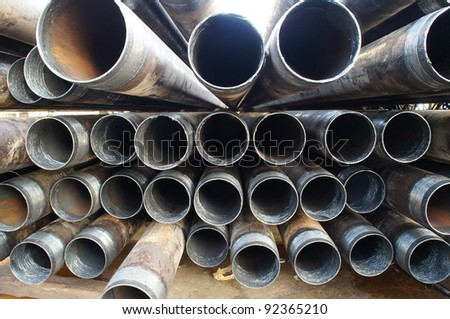 Stack of casing laying on the deck - stock photo