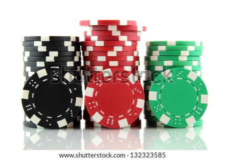 stack of casino gambling chips on white background