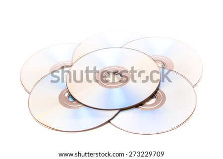 Stack of CD and DVD disc on isolated white background - stock photo