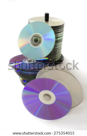 Stack of CD and DVD Discs Isolated on White Background.