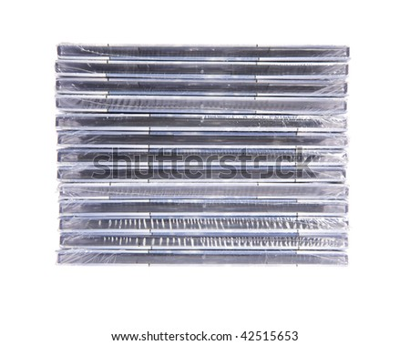 Stack of CD'd on white isolated background - stock photo