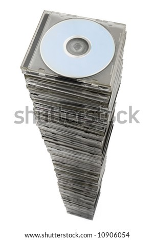 Stack of cd, isolated on white background - stock photo