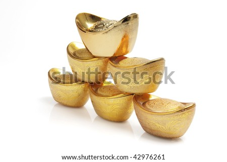 Stack of Chinese Gold Ingots on White Background - stock photo