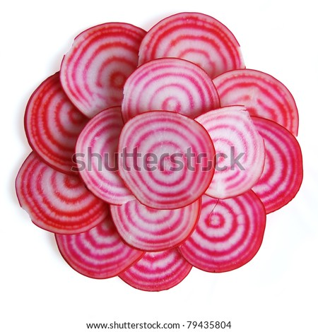 Stack of Chioggia beet slices, isolated - stock photo