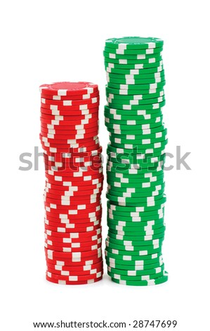 Stack of chips isolated on the white background