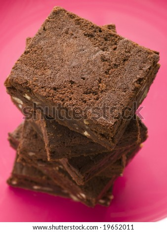 Stack Of Chocolate Brownies - stock photo