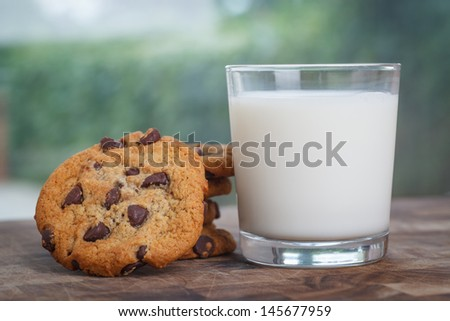 Stack of Chocolate chip cookie and glass of milk