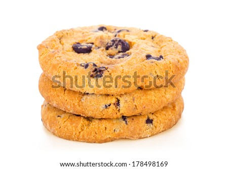 Stack of Chocolate Chip Cookies Isolated on white