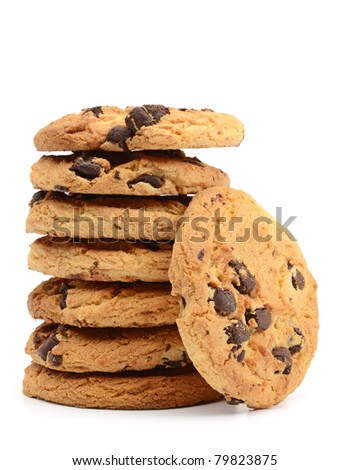 Stack of chocolate chip cookies on white background - stock photo