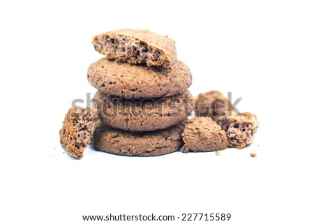Stack of chocolate cookies isolated on white