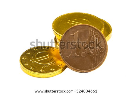 Stack of chocolate euro coins as a concept for finance - stock photo