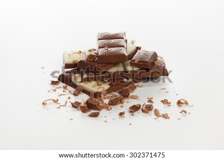 stack of chocolate on white background in studio