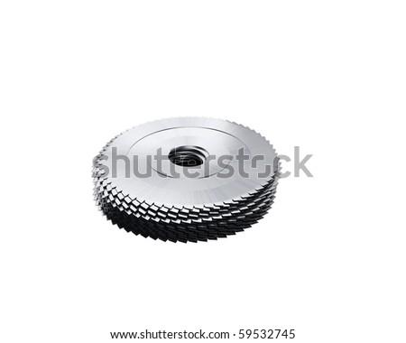 stack of circular saw blades - stock photo