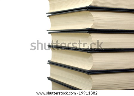 Stack of classical books isolated on the white background.